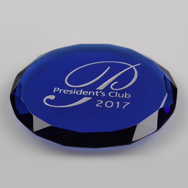 Optic Blue Crystal Round Faceted Paperweight Promotional Gifts