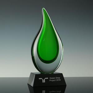 Green Art Glass Tear Drop Award
