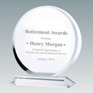 Clear Crystal Circle Award Engraved Circle Crystal Plaque Award