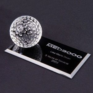 Personalized Crystal Golf Ball on Flat Rectangle Base