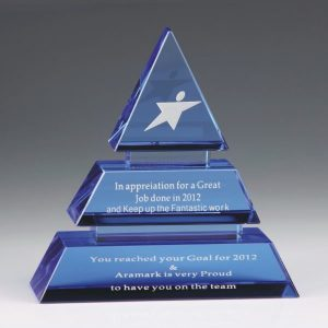 3D Crystal Blue Accented Pyramid Trophy Award