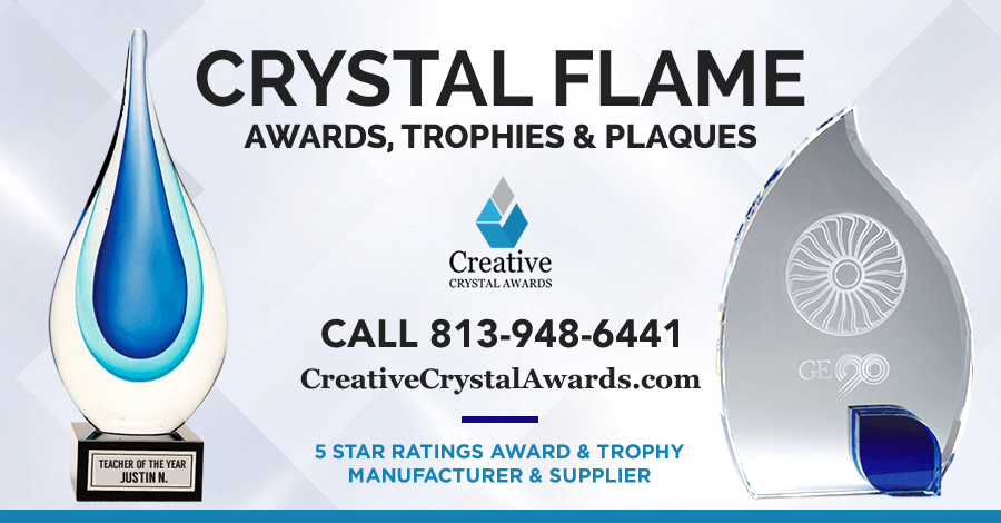 Custom Crystal Flame Awards & Trophies to Honor Achievements