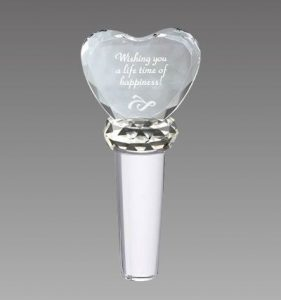 Faceted Crystal Heart Wine Stopper