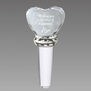 engraved crystal wine bottle stopper with crystal heart