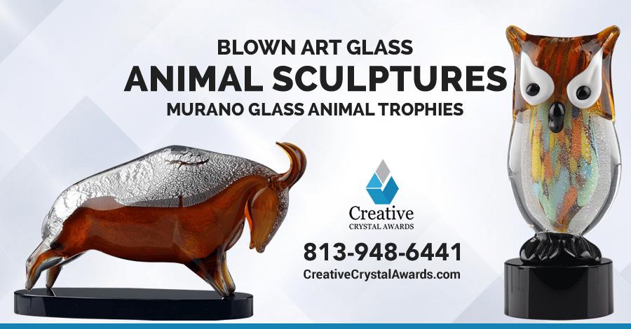 Stunning Hand Blown Art Glass Animal Sculptures
