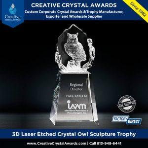 3D Laser Etched Crystal Owl Sculpture Trophy 3D Crystal Owl Award