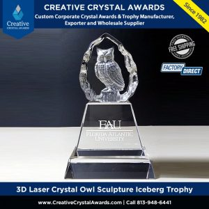 3D Laser Crystal Owl Trophy Crystal Owl Sculpture Iceberg Award