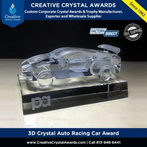 3d crystal auto racing car award crystal motorsport award