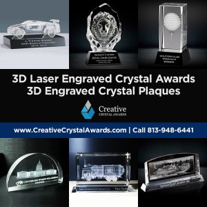 3d crystal awards 3d engraved crystal plaques 3d crystal trophies