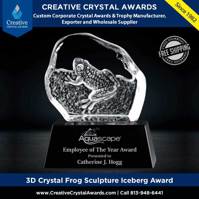 3d crystal frog sculpture crystal frog trophy award