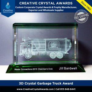 3d crystal garbage truck award waste management award