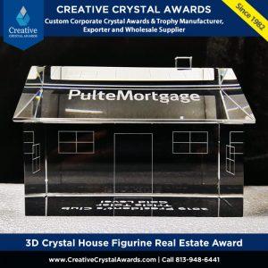 3d crystal house figurine award crystal real estate award