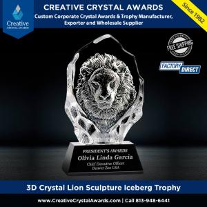 3d crystal lion sculpture iceberg crystal lion award