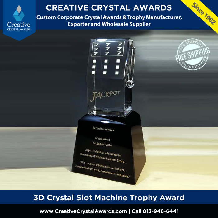 3d crystal slot machine trophy casino crystal award