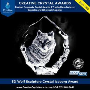 3d crystal wolf animal award crystal wolf award