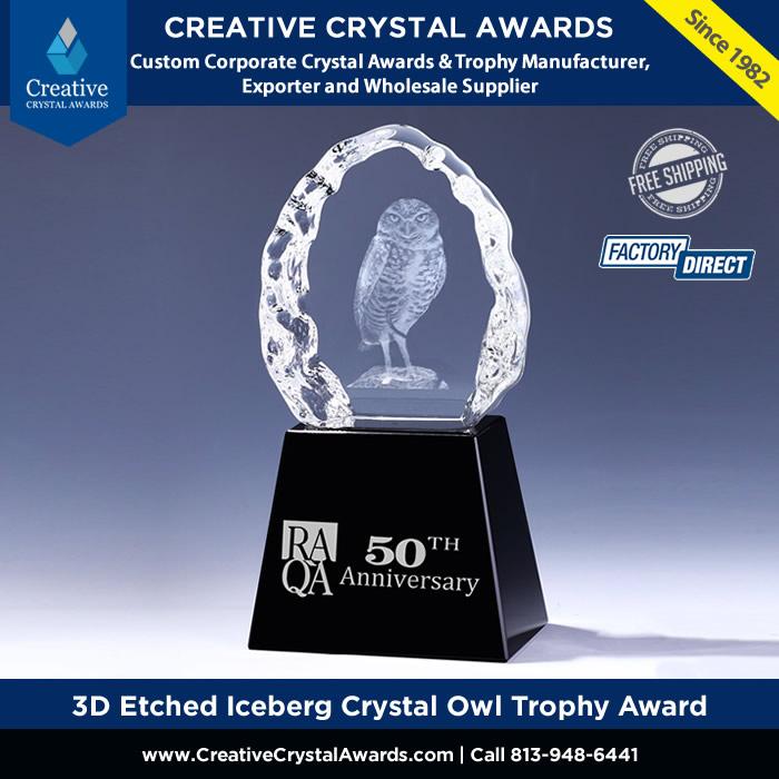 3d etched Iceberg crystal owl trophy crystal owl award
