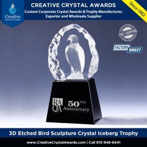 3d etched bird sculpture crystal iceberg trophy crystal bird award