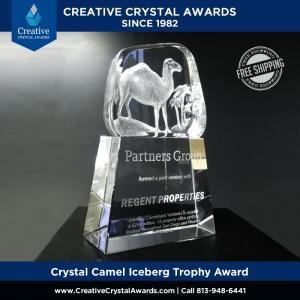 3d laser etched crystal camel sculpture inside crystal iceberg award