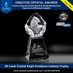 3d laser crystal eagle award iceberg crystal eagle trophy wholesale