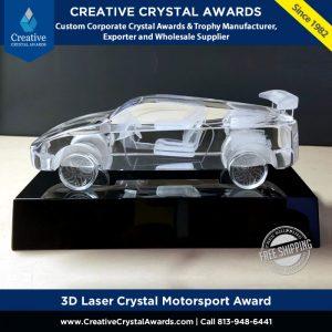 3d laser crystal motorsport award crystal car model