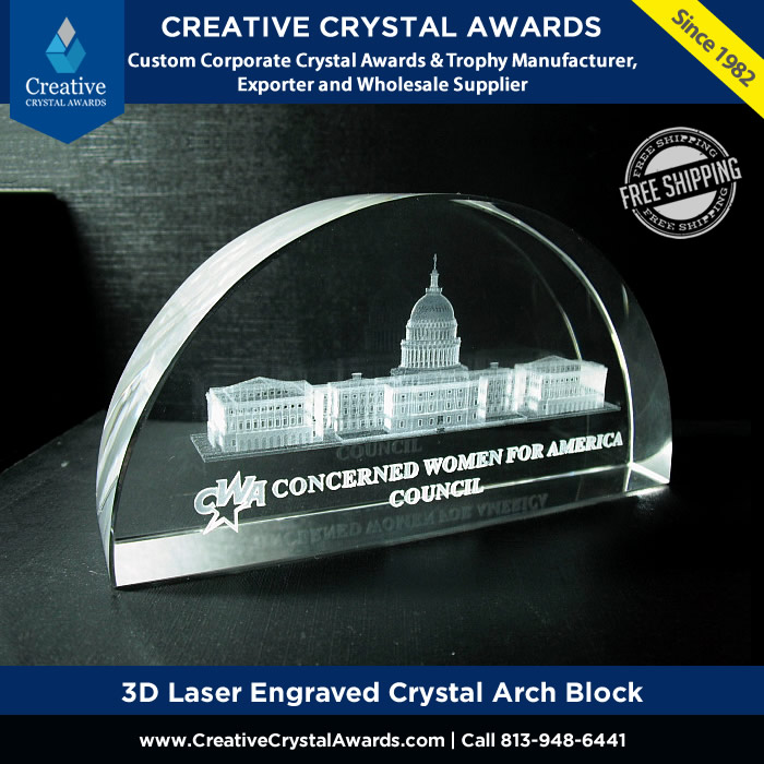 3d laser engraved crystal arch block