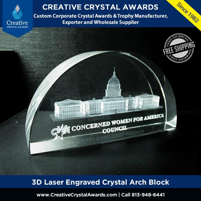 3d laser engraved crystal arch block