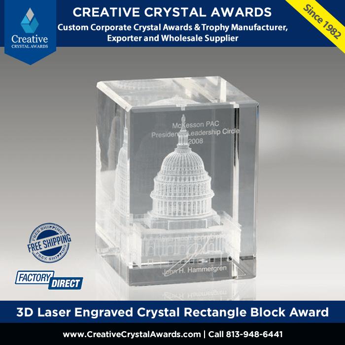 3d laser engraved crystal rectangle block award