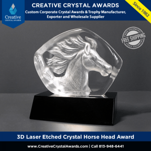 3d laser etched crystal horse head award iceberg crystal horse award
