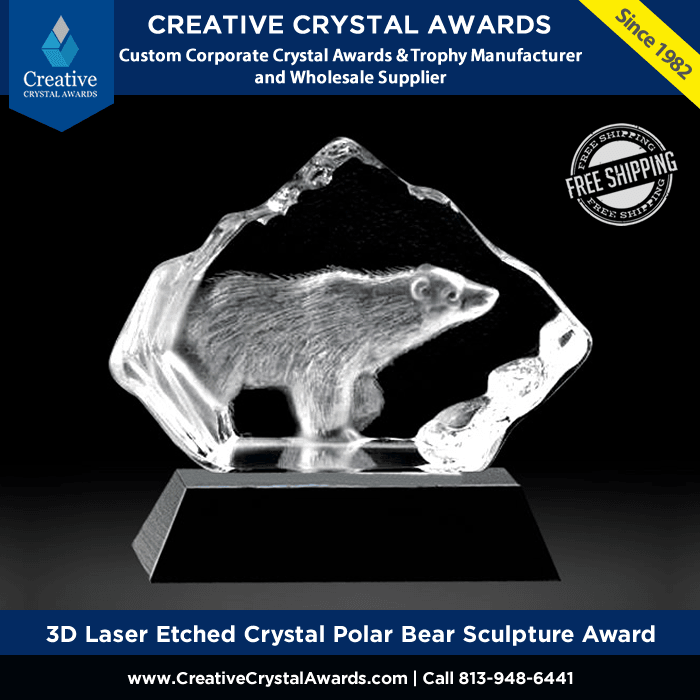 3d laser etched crystal polar bear sculpture crystal iceberg award