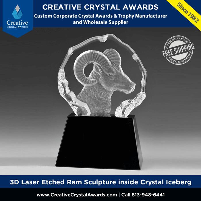 3d laser etched ram sculpture inside optical crystal iceberg trophy award