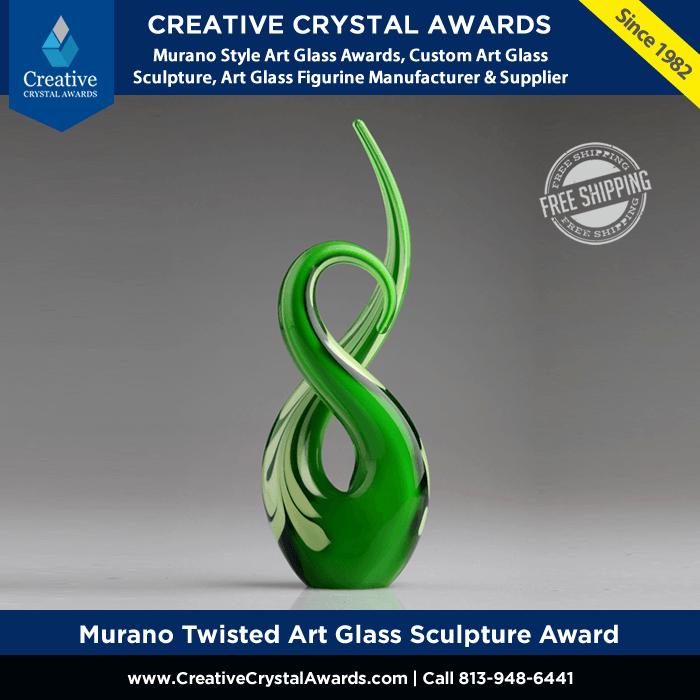 Hand Blown Murano Twisted Art Glass Sculpture Award