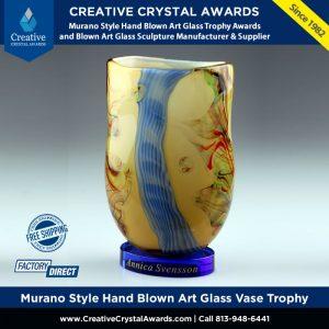 Italian Murano Style Hand Blown Art Glass Vase Trophy Award