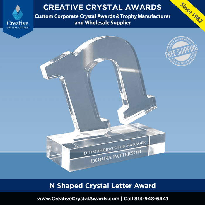 N Shaped Crystal Letter Award