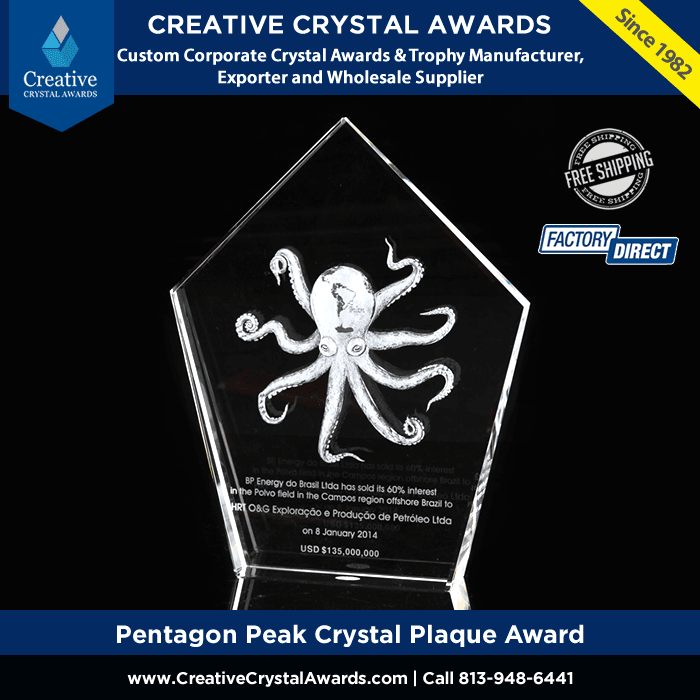 Pentagon Peak Crystal Plaque Award Crystal Pentagon Award