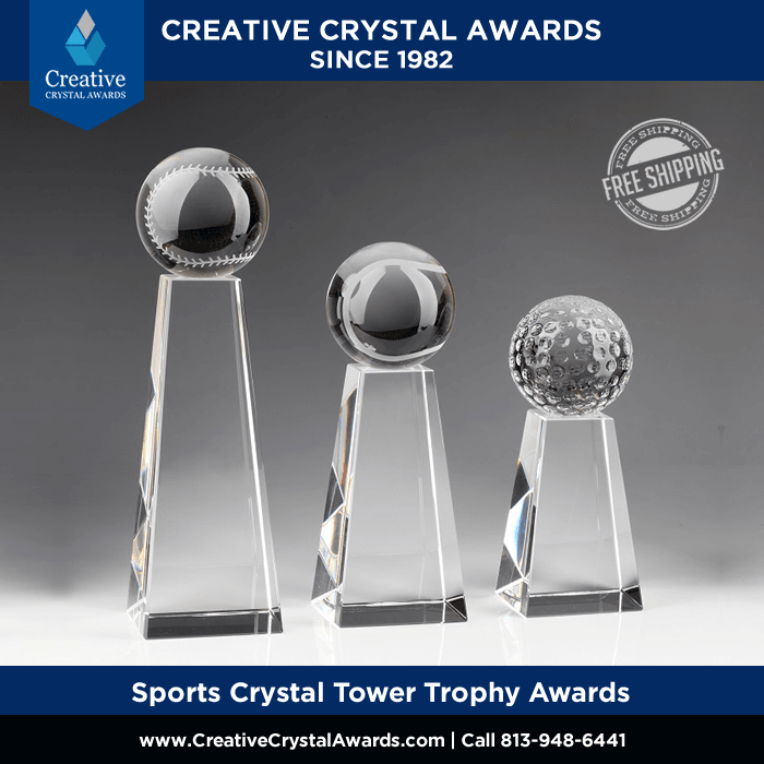 Sports Crystal Tower Trophy Awards