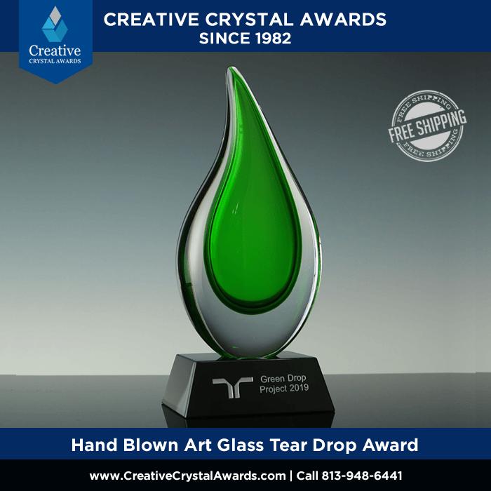 Hand Blown Green Art Glass Water Drop Award