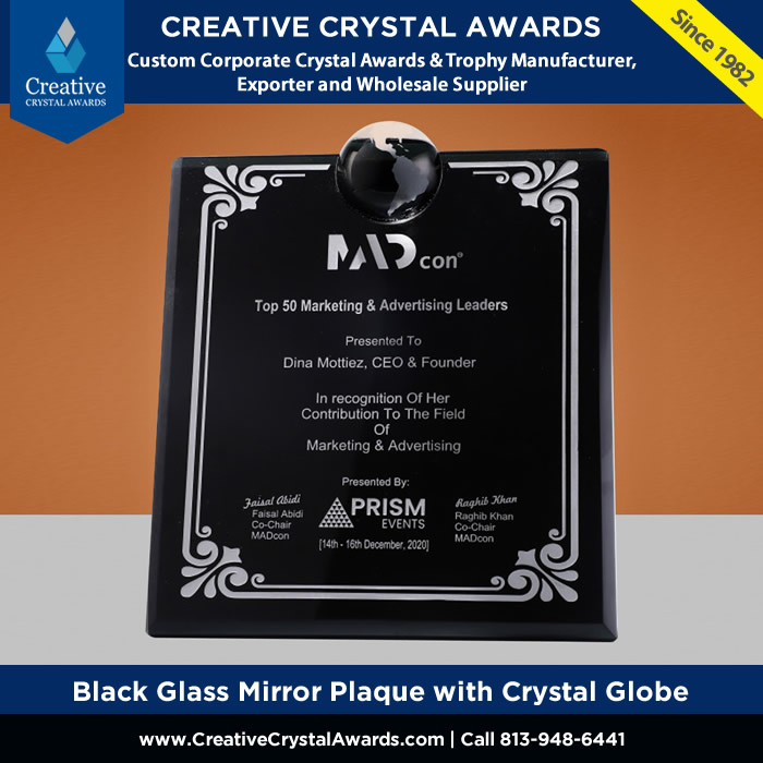 black glass mirror plaque with crystal globe