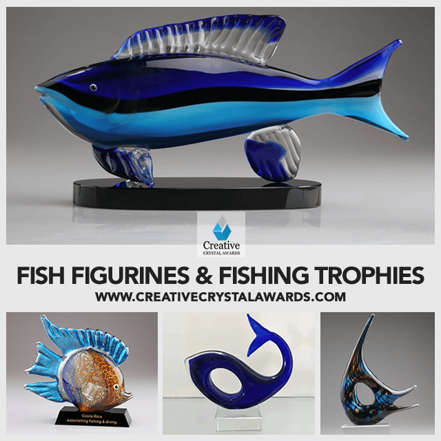 Blown Glass Fish Figurines Art Glass Fishing Trophies Wholesale