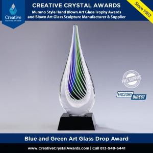 blue and green art glass drop award art glass teardrop award