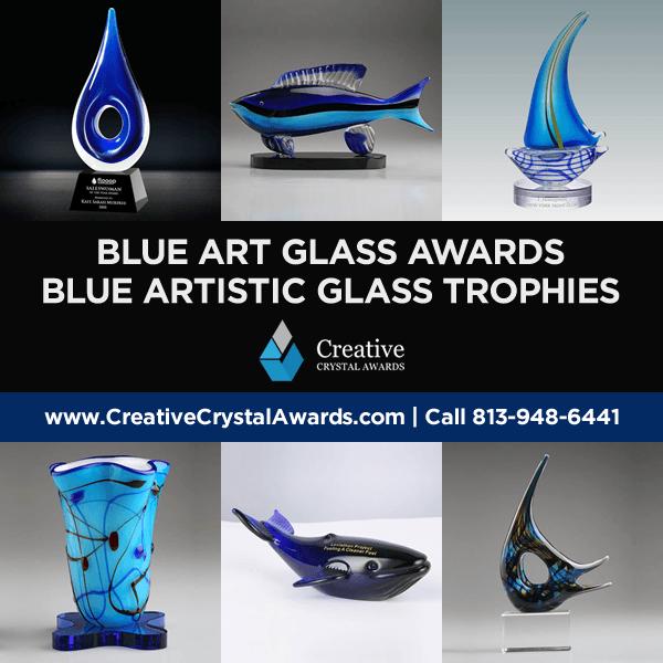 blue art glass awards blue artistic glass trophy wholesale