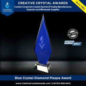 blue crystal diamond plaque award crystal arrowhead award