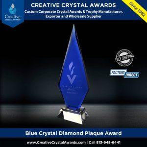blue crystal diamond plaque award crystal arrowhead award