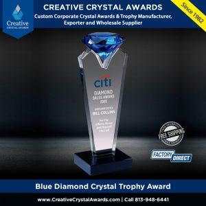 blue diamond crystal trophy award crystal blue diamond award