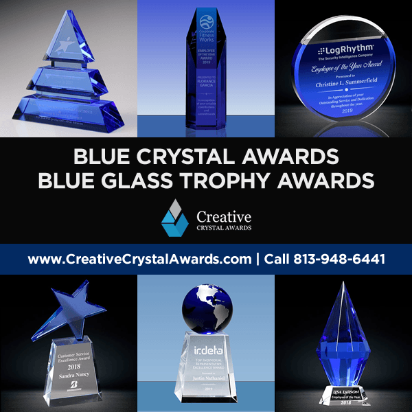 blue optical crystal awards blue glass awards wholesale