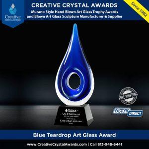 blue teardrop art glass award art glass teardrop trophy