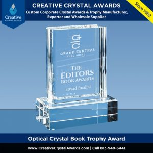 clear crystal book trophy engraved crystal book shaped award