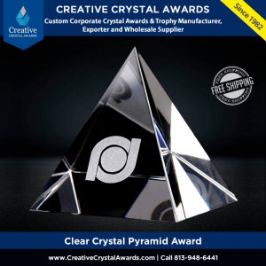 clear crystal pyramid award pyramid shaped crystal award