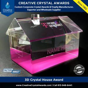 clear optical crystal house award 3d crystal home award
