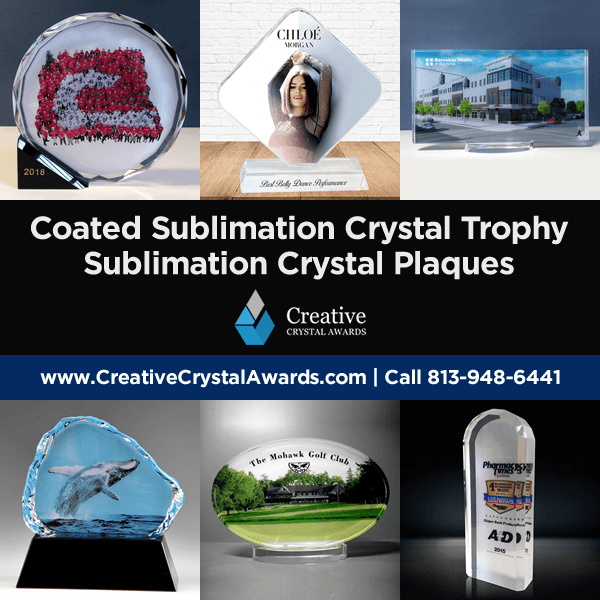 coated sublimation crystal trophy sublimation crystal plaque award wholesale