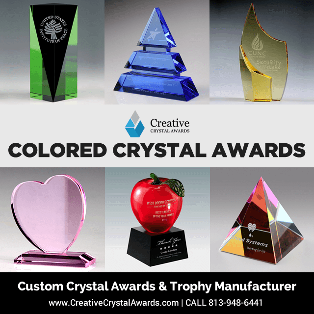 colored crystal awards and trophies